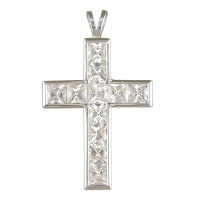 Silver Large CZ Cross