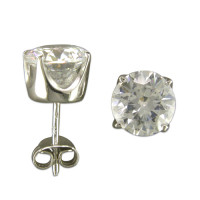 Silver Large CZ Earrings