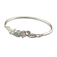 Silver Mackintosh-style oval blue topaz Bangle