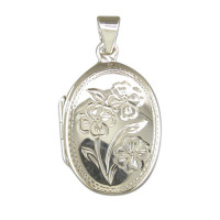 Silver Oval Flower Locket