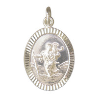 Silver Oval Patterned St Christopher