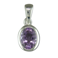 Silver Oval Rubover Amethyst Pendant with 18in Chain