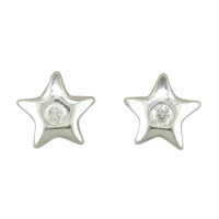 Silver Round CZ Star Earrings