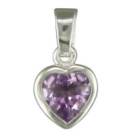 Silver Rubover Amethyst Heart Pendant with 18in Chain