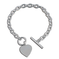 Silver Single Heart T-Bar Bracelet
