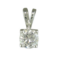 Silver Square CZ Pendant with 18in chain